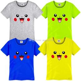 Wholesale Tee Tank Children - Children boys and girls poke cotton T-shirts PokéMon Go Pikachu Tees cartoon baby tops Tanks free shipping C1170