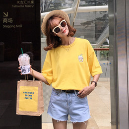 Wholesale Korean Cute Tops - harajuku shirt women tops summer 2017 korean ulzzang cute japan kawaii rock banana bottle embroidered best friend t-shirt women