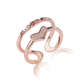 Wholesale Woman Index Finger Rings Jewelry - Rose gold plated ring fashion double-deck Love heart crystal open index finger rings for women jewelry JZ071