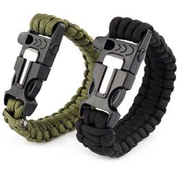 Wholesale Survival Bracelet Whistle Clasp - Fashion Unisex Survival Paracord Bracelet Toggle-clasps Magnesium Outdoor Scraper Whistle Flint Fire Starter Gear Kits 25cm