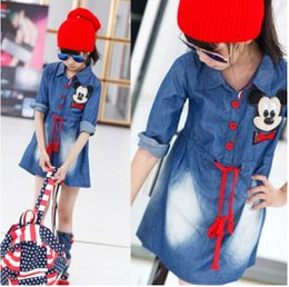 Wholesale Dresses Baby Cool - New spring autumn cool baby girl cartoon mickey cowboy Long sleeve dresses mickey denim dress 120-170 3-12T Free shipping E1023