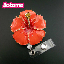 Wholesale Hibiscus Flower Jewelry - New arrival fashion jewelry 2 inches Enamel Hawaiian Hibiscus Flower ID Badge Reel Name card holder