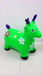 Wholesale Thick Baby Stocking - Children's inflatable rubber horse jumping horse jumping Maccabees thick increase music baby gift horse shipping green pump