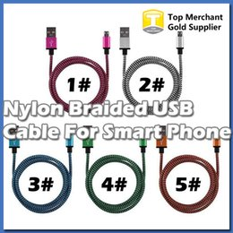 Wholesale Orange Smart Cell Phone - HOT Nylon Braided 2M 5Ft Micro USB Cable, Charger Data Sync USB Cable Cord For Smart Cell phones Tablet PC 5 Colors Available