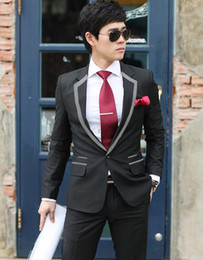 Wholesale Grey Blazers For Men - Wholesale-Business black Grey Edge latest coat pant designs costume homme mariage men groom wedding suits for men's blazers ternos prom