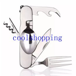 Wholesale Spoon Stainless Steel Folding - Hot New Multi-functional Camping Tools Stainless steel outdoor folding tableware set picnic knife fork spoon travel dinnerware