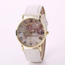 Wholesale Glass Airplane - 2016 New Fashion Casual Watch Women Wristwatch Personality World Map Airplane Pattern Leather Quartz Watch Relogio Clock