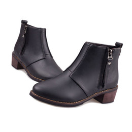 Wholesale Womens Wedges Boots - Luxury Brand Womens Boots 2015 Fashion Women Winter Boot Ladies Motorcycle Black Brown Heel Shoes Woman Anckle Chelsea Boots