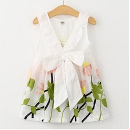 Wholesale Girls Dressess - New design girls party clothes summer kids cotton white vest embroidered flower dress fashion princess V-neck dressess girls clothes 16O101
