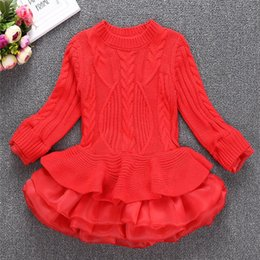Wholesale Full Print Color Balls - Party Dress Kids Girl Stripe Ruffle Dresses 2-7Year Princess Baby Girls Knit Sweater Dress Costume 2017 Autumn Children Clothes B896