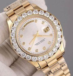 Wholesale Gold Diamond Bezel - Fashion New Luxury AAA watches Day Date 18K Gold Automatic Movement Men's Watch Diamond Bezel stainless steel Mechanical Mens Wristwatches
