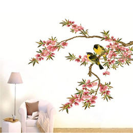 Wholesale Tree Branches Wall Stickers - Hot New DIY Wall Decal Peach Tree Branches Love Birds Removable Sticker Bedroom Art Home Decor High Quality Adesivo De Parede