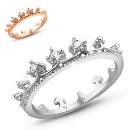 Wholesale Only Silver Jewelry - silver plated rings anillo USA EURO Style Fashion Silver plated crown only crown Ring Wholesale Jewelry