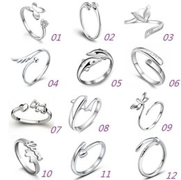 Wholesale 14k Jewerly - 925 Sterling Silver Jewerly Rings Dolphins Dragonfly Wings Of The Angel Love Fox Butterfly Opening Adjustable Ring For Women