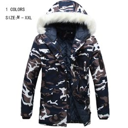 Wholesale Camouflage Winter Coats For Men - Fall-2016 new winter jacket for mens parka Fashion cool men Camouflage large fur collar wadded jacket outerwear warm coat YY 115