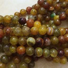 Wholesale Yellow Agate Jewelry - Wholesale-Popular yellow dragon vein agate 6mm 8mm 10mm 12mm european jasper loose beads fashion woman jewelry making 15 inch A35