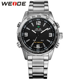 Wholesale Digital Clock Date Time - Deluxe WEIDE Men's Analog LED Digital Date Dual Display Quartz Watch LED wristwatch men clock Relogio Masculino
