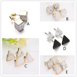 Wholesale Natural Turquoise Jewelry Gold - New Natural White Turquoise Stone Gold Howlite Square Round Triangle Geometry Stud Earring For Women Fine Jewelry brincos bijoux