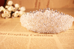 Wholesale Wedding Feathers Beads - Luxury Full Transparent Crystal Tiaras Wedding Accessories Bridal 2016 Beads Crystal Bridal Hair Embellishments in Silver O325