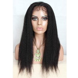 Wholesale Kinky Natural Lace Fronts - 2016 Unprocessed raw natural Human Hair Wigs Long kinky straight lace front Wig With Combs free shipping