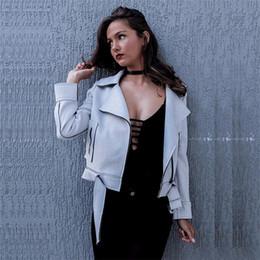 Wholesale Woman S Pink Leather Jacket - 2016100926 Zipper basic suede jacket coat 2016 motorcycle leather jacket Women outwear Pink belted short winter jackets
