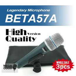 Argentina Micrófono al por mayor 3 unids / lote BETA57 Profesional BETA57A Super Cardioide de mano dinámico Micrófono con conexión de cable Beta 57A 57 Un micrófono libre mikrafon Suministro