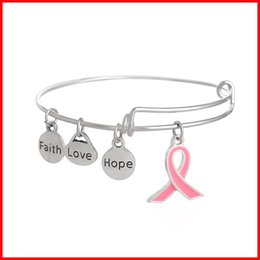 Wholesale Silver Bangles For Children - Ancer Red ribbon Hope Love Faith charms bracelet bangle cuffs Silver Plated for women children jewelry 161254