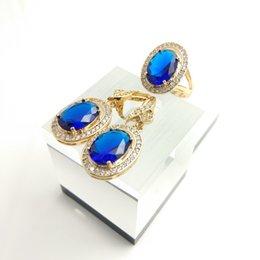 Wholesale Quartz Blue Topaz Earrings - Standard Oval deep blue Quartz 925 Silver earrings rings size 7 8 9 For Women Free Gift Box