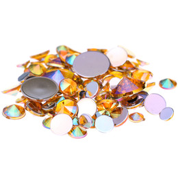 Wholesale Gold Nail Rhinestones - Gold AB Acrylic Rhinestones For 3D Nails Art 4mm 5mm 6mm 10mm And Mixed Sizes Flatback Pointed Glue On Stones DIY Crafts Designs