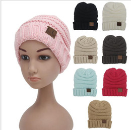 Wholesale Wholesale Childrens Caps - Children Winter Knitted CC Trendy Hats Babies Knitting Beanie Kids Fashion Warm Caps Childrens Casual wool hat 8 color KKA2852