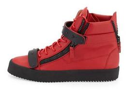 taglie 35-47 New brand Italian designer uomo sneakers donna scarpe casual in vera pelle Lace-Up le alte cime marrone doppia cerniera decorativa da doppie scarpe a righe fornitori