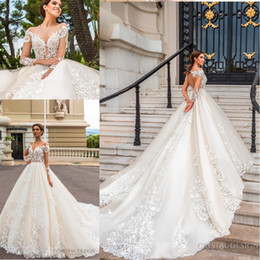 Wholesale custom shirt designer - 2018 Stunning Designer Wedding Dresses with Sheer Long Sleeves Illusion Neckline Full Lace Appliqued Keyhole Back Court Train Bridal Gowns