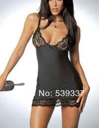Wholesale Womens V Strings - Wholesale-Sexy Womens Babydoll Nightdress Lingere G-string Underwear Lace Sleepwear