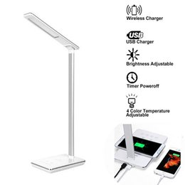 Wholesale Modern Glass Desks - 2016 LED Desk Lamp Touch control table Lamp With Qi Wireless USB 2.0 Charger Dimmable Eye-caring lamp timer poweroff lamp