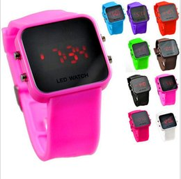 Wholesale Makeup Mirror Battery - Luxury Mirror Dial Digital LED Watch Touch Screen Colorful Silicone Rubber Wristwatch Unisex Makeup Gift Watches