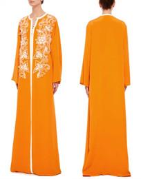 Wholesale Sleeved Chiffon Prom Dresses - 2016 Maxi long sleeved caftan arabic evening dresses Dubai Kaftan Abayas muslim evening gowns islamic clothing