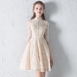 Wholesale Quinceanera Mothers Dress - High Quality High Neck Half Sleeves Lace Knee Length A-Line Mother of the Bride Dresses Short Bridemaid Dress Vestido de fiesta Onepiece