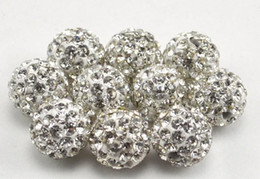 Wholesale Silver Multi Heart Bracelet - 100pcs lot fasion best 10mm mixed multi color ball Crystal Shamballa Bead Bracelet Necklace Beads.Hot new beads Lot!Rhinestone DIY spacer