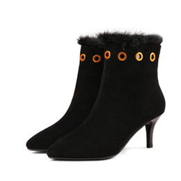 Wholesale ankle shop - Ankle boots women pointed toes Autumn and winter warm metal ring plush personality elegant shopping shoes
