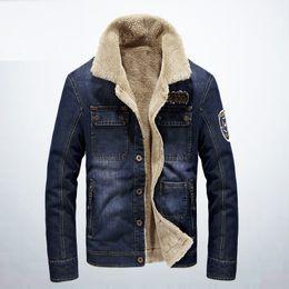 Wholesale Turtleneck Jacket Men - Brand Winter Men's Jackets Stand Collar Demin Cashmere Blue Casual Solid Color Long Sleeve Warm Fleece Men Jacket Clothing Plus Size