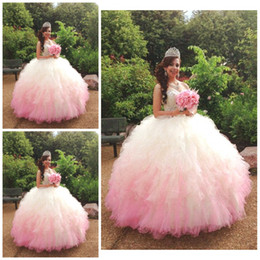 Wholesale Pretty Ball Gown Prom Dresses - Gorgeous Gradient Pink Quinceanera Gowns Crystal Beaded Sweetheart Tiered Cascading Ruffles Prom Dress Pretty Floor Length Lace Up Ball Gown