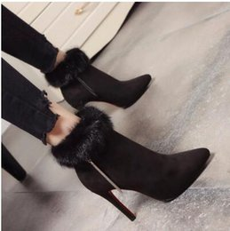 Wholesale Winter Essentials - European and American trend models mink plush nodded high-heeled boots.Sexy slim and fringed design,New Year essential gifts free shipping