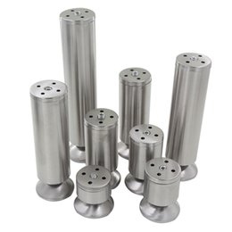 Wholesale Stainless Leg - 4pcs Adjustable 10-15mm Height 60-250mm Furniture Foot Stainless Steel 50mm Dia. Round Cabinet Cupboard Sofa Bed Furniture Legs