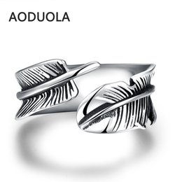 Wholesale Vintage Wing Ring - The Individualized Punk Style Retro Ring Men's Unique Fashionable Vintage Stainless Steel Double Wing Antique Jewelry Rings