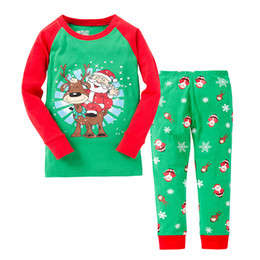 Wholesale Snow Child Suit - 2017 New Christmas Children Outfits Sets Home suits Long Sleeve Cotton Santa Xmas 2pcs Set Homewear Sleeping Clothing Snow Green A7344