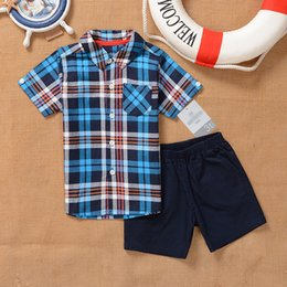 Wholesale Cute Summer Clothes For Boys - Summer Kids Clothing Suit Boy Shirt+Short Pants 2 PCS Fashion Baby Boys Short Sleeve Suit 2 Colors For 2~5 Years Kids