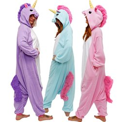 Wholesale Kigurumi Animal Onesie - HappyBuy Kigurumi Animal Onesie Rainbow Pony Adult Onesie Pajamas Hooded All In One Sleepwear Animal Pajamas Fleece One Piece Pajama