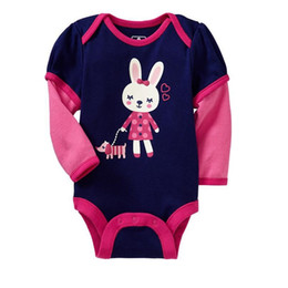 Wholesale Long Sleeve Newborn Girls Bodysuits - Baby Girls Bodysuits Rabbit Body For Girls Dress Long Sleeve Baby Clothes 100% Cotton Navy Newborn Outfits