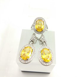 Wholesale Yellow Topaz Rings For Women - White Topaz Huge Gold Yellow Colour 925 Sterling Silver Jewelry Set Ring Earring Size 7 8 9 For Women Free Jewelry Box