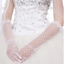 Wholesale High Quality Wedding Gloves - High Quality Handmade Elegant White Bridal Veils Long Wedding Gloves Women With Finger Luva Para Casamento Elbow Bridal Gloves free shipping